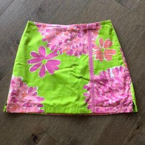 LILLY PULITZER PINK/GREEN FLORAL SKORT